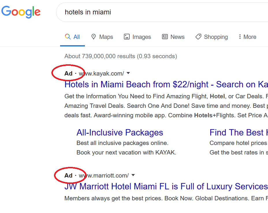 Pay per click example in SERP